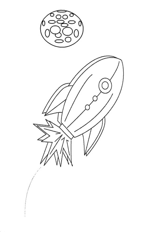 Space Shuttle, : A Kids Drawing of Space Shuttle Coloring Page