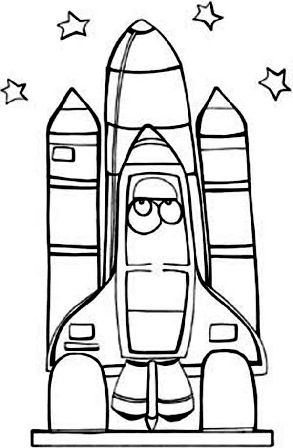 Space Shuttle, : A Kids Drawing of Space Shuttle in the Space Center Coloring Page