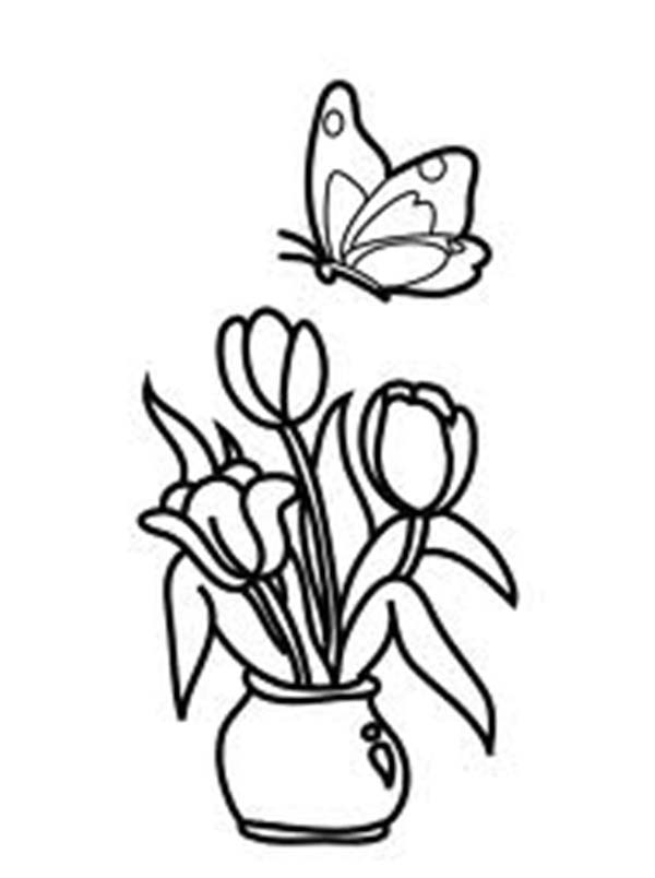 Tulips, : A Lovely Tulips in a Pot and Butterfly Coloring Page