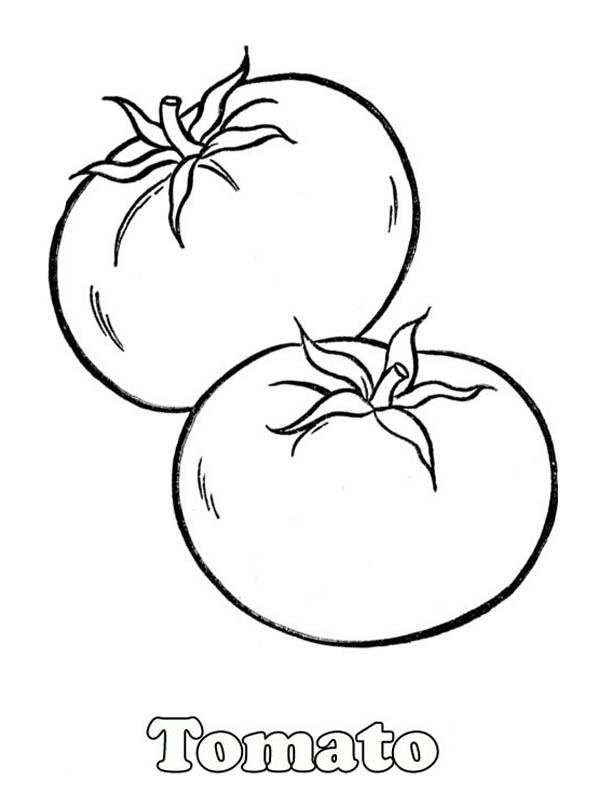 Fruits and Vegetables, : A Pair of Red Tomatos Coloring Page