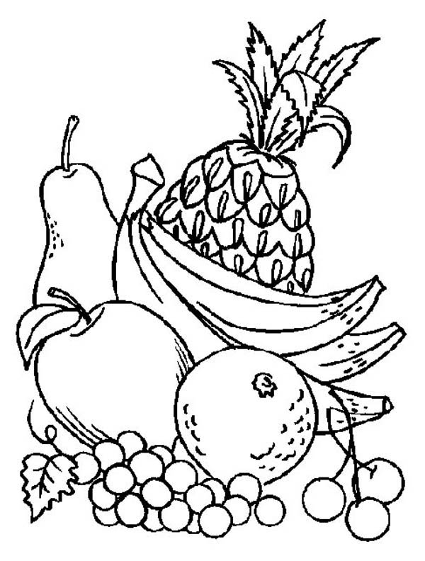 Fruits and Vegetables, : A Pile of Fresh Fruits Coloring Page