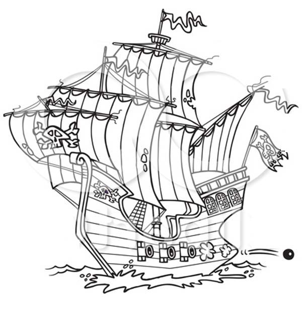 Pirate Ship, : A Pirate Ship Firing Canon Coloring Page