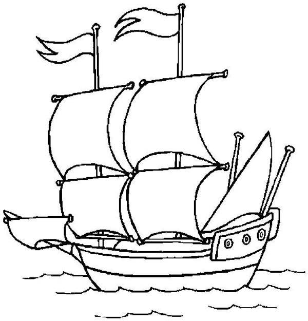 Pirate Ship, : A Pirate Ship Open Sail to the Ocean Coloring Page
