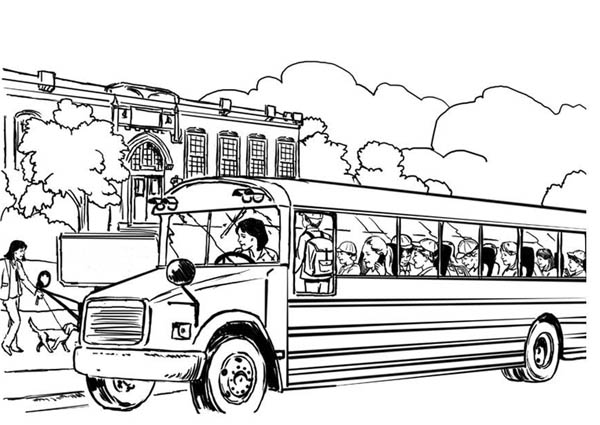 School Bus, : A Realistic Illustration of School Bus Coloring Page