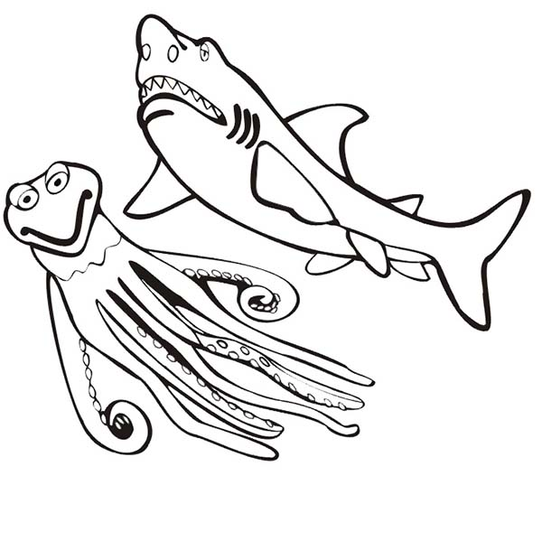 Sharks, : A Shark and An Octopus Coloring Page