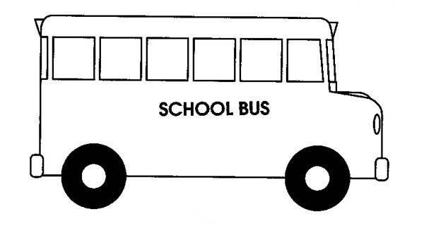 School Bus, : A Simple Drawing of School Bus Coloring Page
