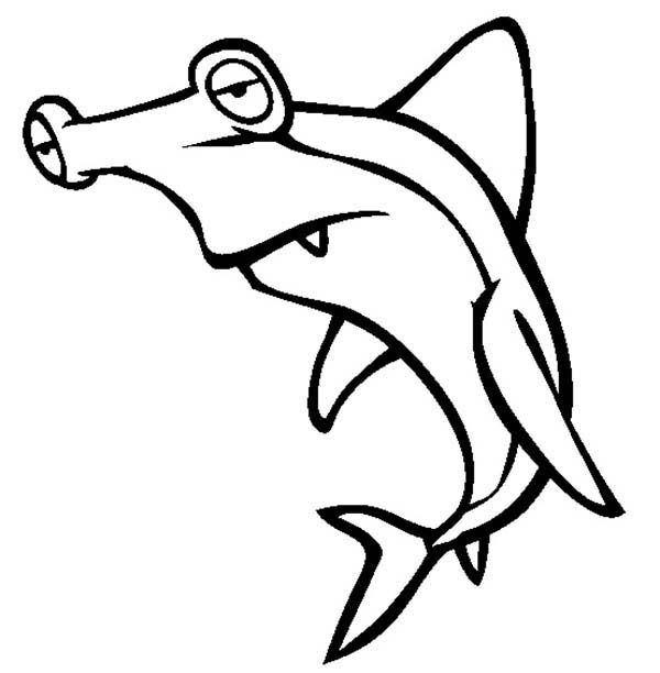 Sharks, : A Sleppy Hammerhead Shark Looking for Rest Coloring Page