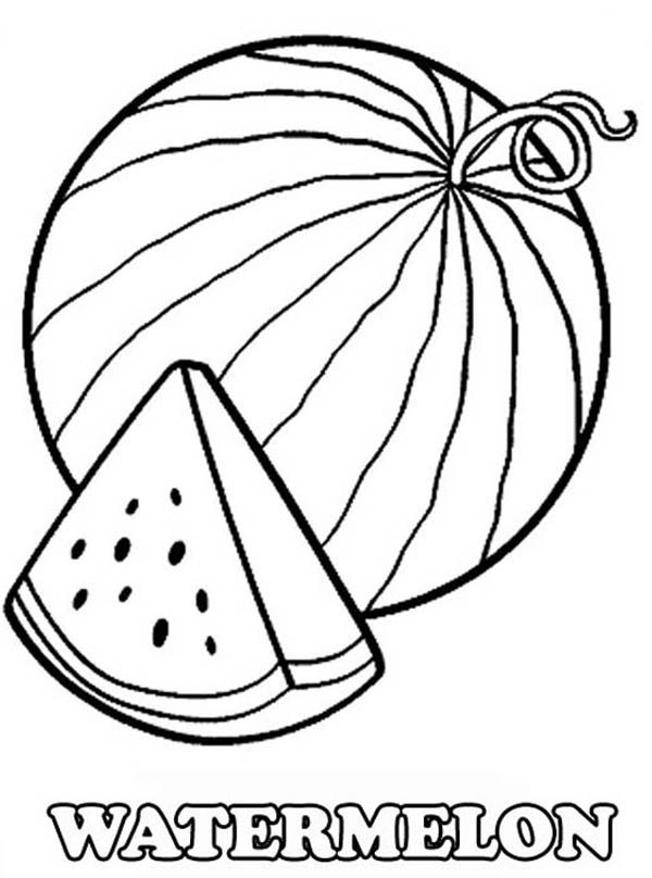 Fruits and Vegetables, : A Slice of Fresh Watermelon Coloring Page