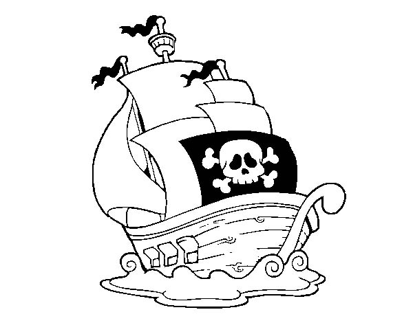 Pirate Ship, : A Small Pirate Ship in the Sea Coloring Page