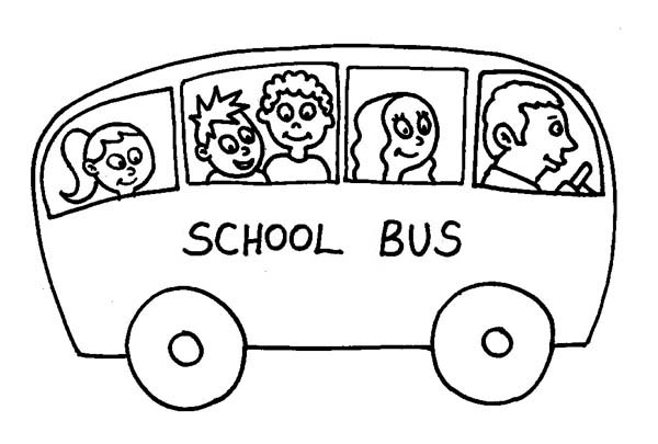School Bus, : A Small School Bus on a Ride Coloring Page