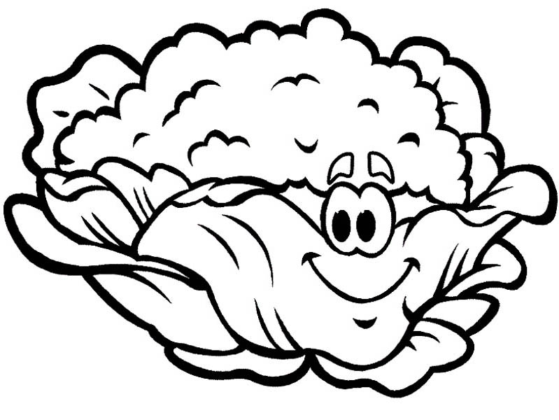 Fruits and Vegetables, : A Smiling Mrs Cauliflower Coloring Page
