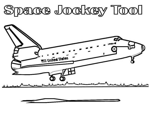 Space Shuttle, : A Space Shuttle Landing on the Space Center After the Misson Coloring Page