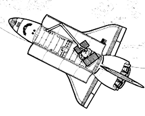 Space Shuttle, : A Space Shuttle with an Opened Cargo Doors and the Modules Coloring Page