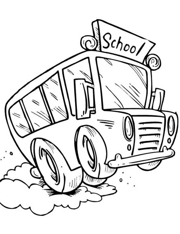 School Bus, : A Speedy School Bus Using Its Break Coloring Page