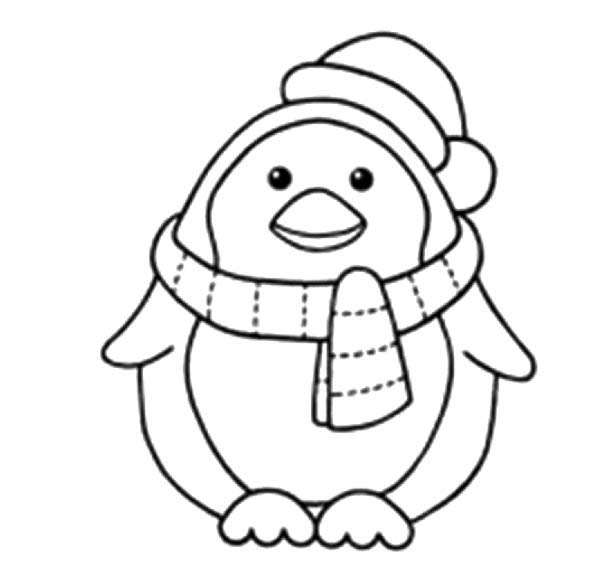 Penguins, : A Sweet Little Penguin with Scraf and Santas Hat Coloring Page