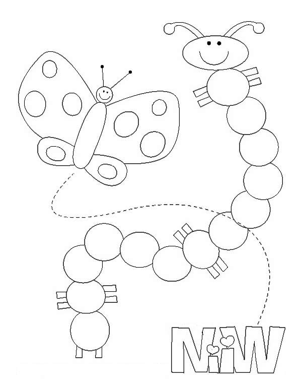 Caterpillars, : A Transformation of Caterpillar into Butterfly Coloring Page