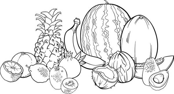 Fruits and Vegetables, : A Whole Sets of Thanksgiving Fruits Coloring Page