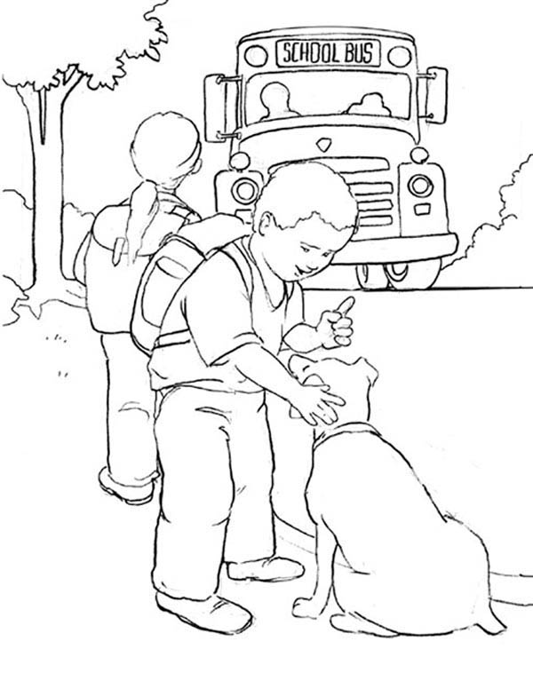 School Bus, : A Young Boy and His Dog Waiting for School Bus Coloring Page