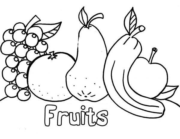 All Kind Of Fresh Fruits After Dinner Coloring Page : Kids ...