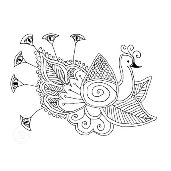 Peacock, : An Artisitic Drawing of Indian Peacock Coloring Page