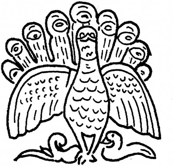 Peacock, : An Ethnic Illustration of Indian Peacock Coloring Page