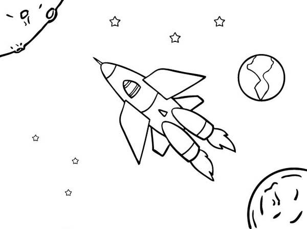 Space Shuttle, : An Illustration of Space Ship Coloring Page
