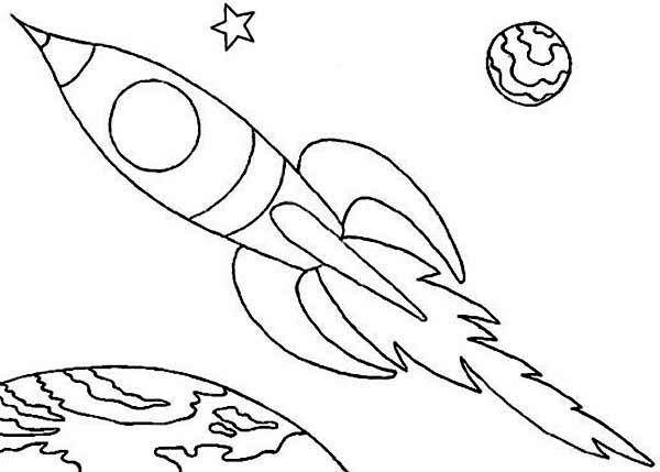 Space Shuttle, : An Illustration of the Space Rocket Coloring Page