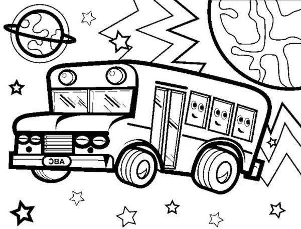 School Bus, : An Intergalactic School Bus Coloring Page