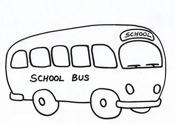 School Bus, : Big Fat School Bus Ready to Go Coloring Page