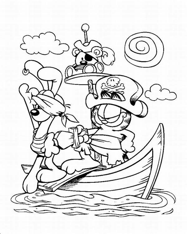 Pirate Ship, : Captain Garfield and His Pirate Ship Coloring Page