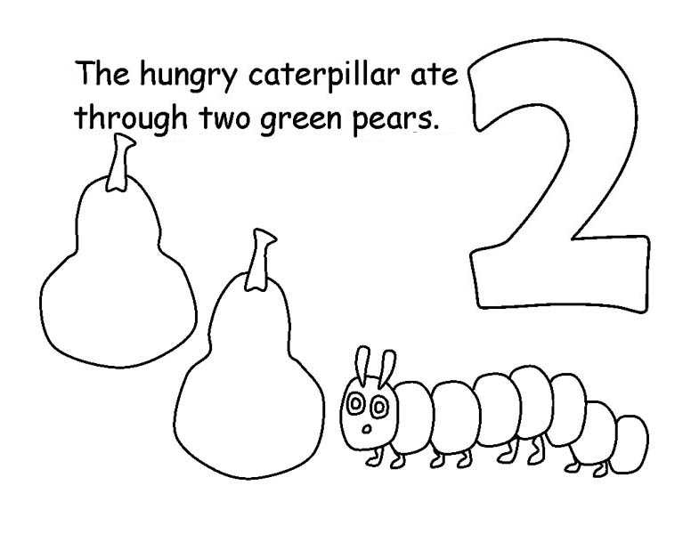 Caterpillars, : Caterpillar Eating Two Pears Coloring Page
