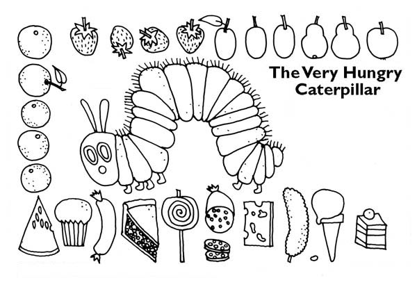 Caterpillars, : Caterpillar Surrounding with Lots of Tasty Treat Coloring Page