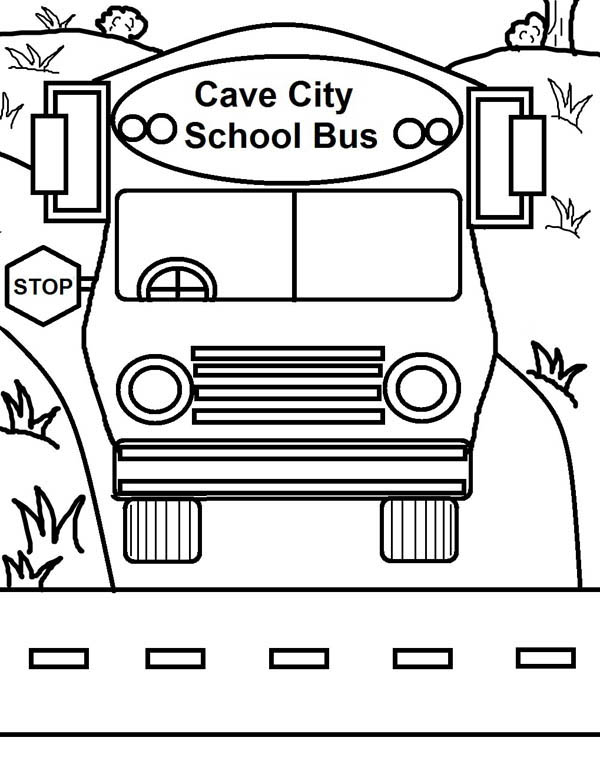 School Bus, : Cave City School Bus on Duty Coloring Page