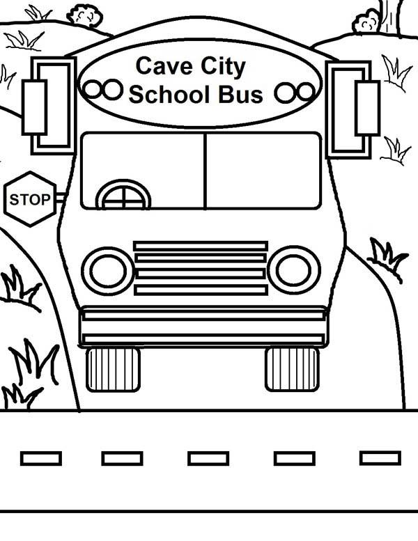 School Bus, : Cave City School Bus on Duty Coloring Page
