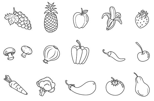 Fruits and Vegetables, : Different Kind of Fruits and Vegetables Coloring Page