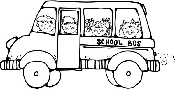 School Bus, : Doing a Field Trip on a School Bus Coloring Page