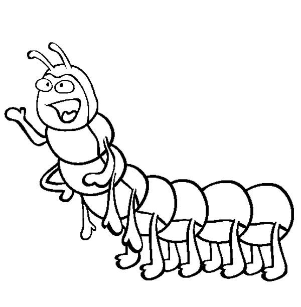 Caterpillars, : Friendly Caterpillar Wants to Talk Coloring Page