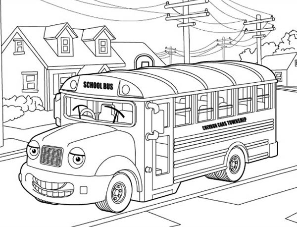 School Bus, : Hilarious Mr School Bus in My Neighborhood Coloring Page