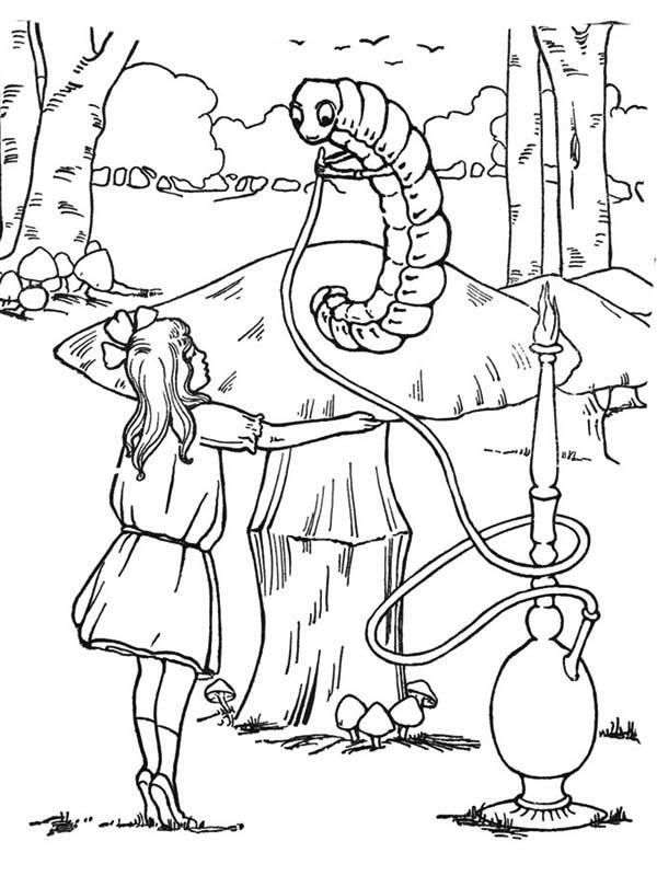 Caterpillars, : Hookah-Smoking Caterpillar in Alice in Wonderland Coloring Page