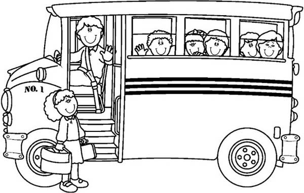 School Bus, : Hopping to a School Bus with Friendly Driver Coloring Page