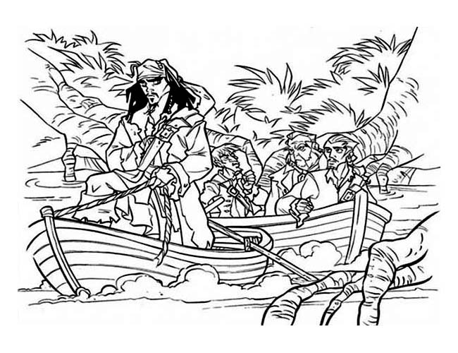 Pirate Ship, : Jack and His Pirate Crew on a Vessel Coloring Page