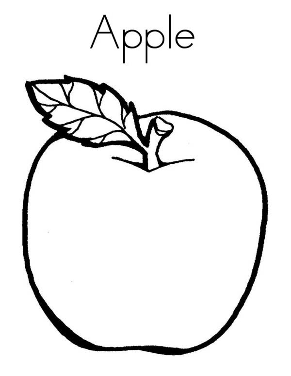 Fruits and Vegetables, : Learn Letter A for Apple Coloring Page