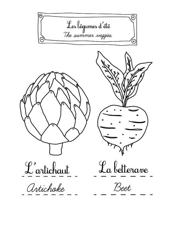 Fruits and Vegetables, : Learn Summer Vegetables Name in French Coloring Page