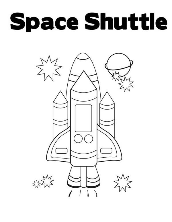 Space Shuttle, : Learn the Word of Space Shuttle Coloring Page