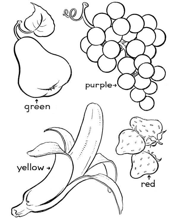 Fruits and Vegetables, : Lets Color These Delicious Fruits Coloring Page