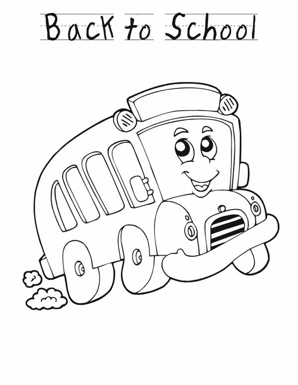 School Bus, : Lets Go Back to School with School Bus Coloring Page