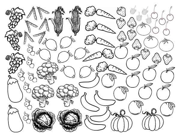 Fruits and Vegetables, : Lines of Fruits and Vegetables Coloring Page