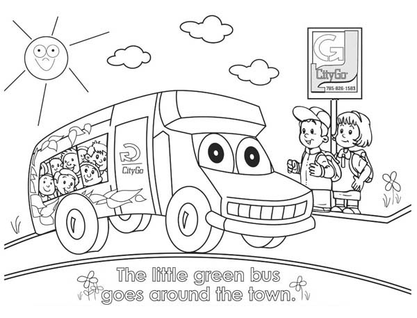 School Bus, : Little Green School Bus Goes Around the Town Coloring Page