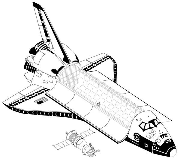Space Shuttle, : Module Inside a Space Shuttle Coloring Page