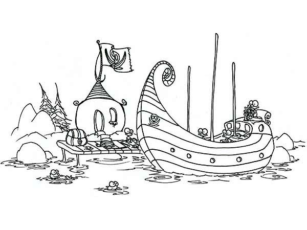 Pirate Ship, : Monkey Pirate Ship Docking Coloring Page